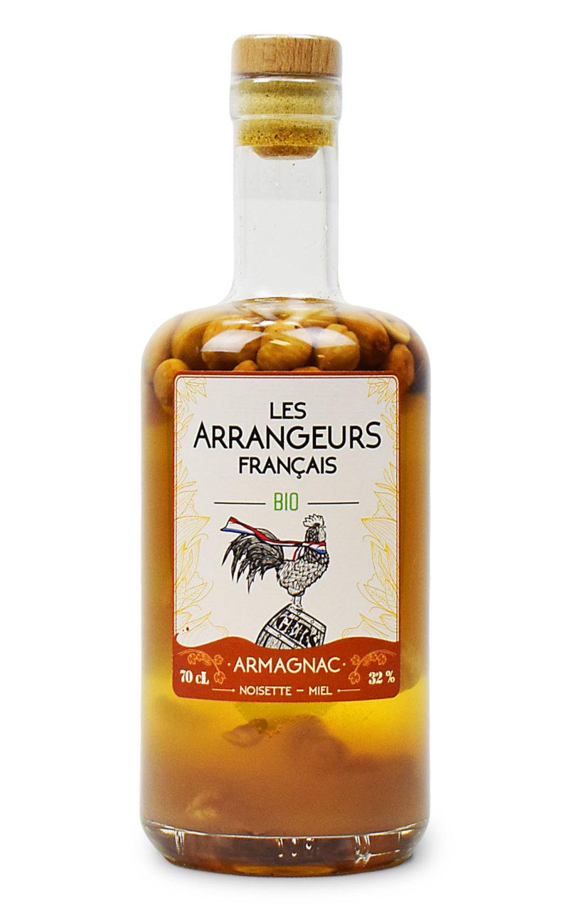 armagnac arrange noisette miel bio bouteille les arrangeurs francais bouteille fabriquée dans le gers artisan