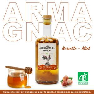 Armagnac Arrangé Noisette Miel Les Arrangeurs Français Bio bouteille fabriquée dans le gers artisan