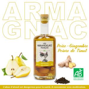 bouteille Armagnac Arrangé Poire Gingembre Poivre Timut Les Arrangeurs Français Bio fabriqué dans le gers