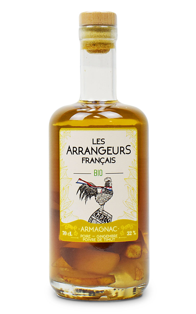 armagnac arrange poire gingembre poivre de timut bio bouteille les arrangeurs francais bouteille fabriquée dans le gers artisan