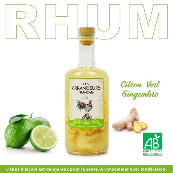 Rhum Arrangé Citron Vert Gingembre Les Arrangeurs Français Bio bouteille fabriquée dans le gers artisan