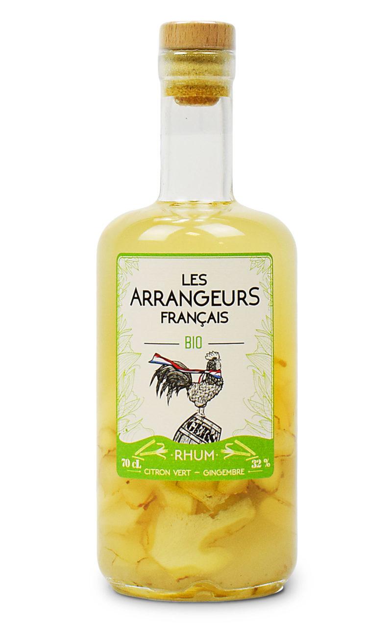 rhum arrange citron vert gingembre bio bouteille les arrangeurs francais bouteille fabriquée dans le gers artisan