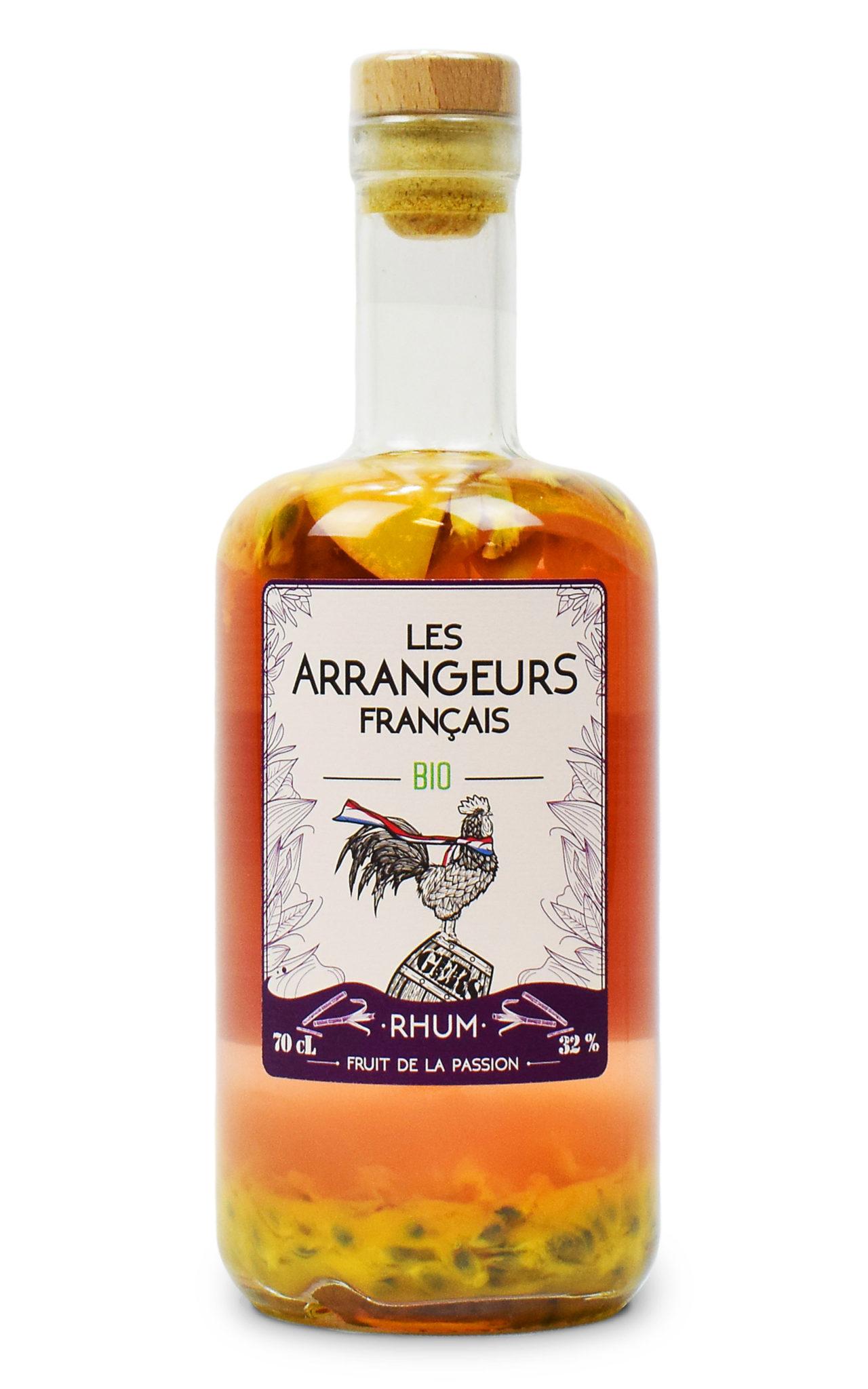 rhum arrangé fruit de la passion bio bouteille les arrangeurs francais bouteille fabriquée dans le gers artisan