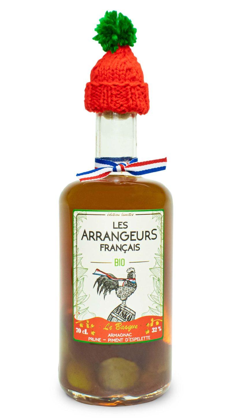 armagnac arrangé piment espelette prune bio bouteille les arrangeurs francais bouteille fabriquée dans le gers artisan
