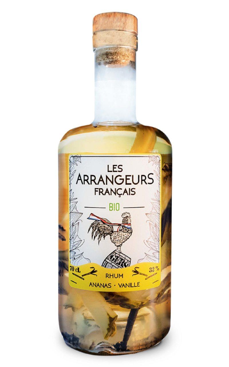 rhum arrangé ananas vanille bio bouteille les arrangeurs francais bouteille fabriquée dans le gers artisan