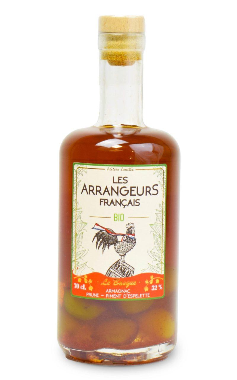 armagnac arrangé piment d'espelette prune bio bouteille les arrangeurs francais bouteille fabriquée dans le gers artisan