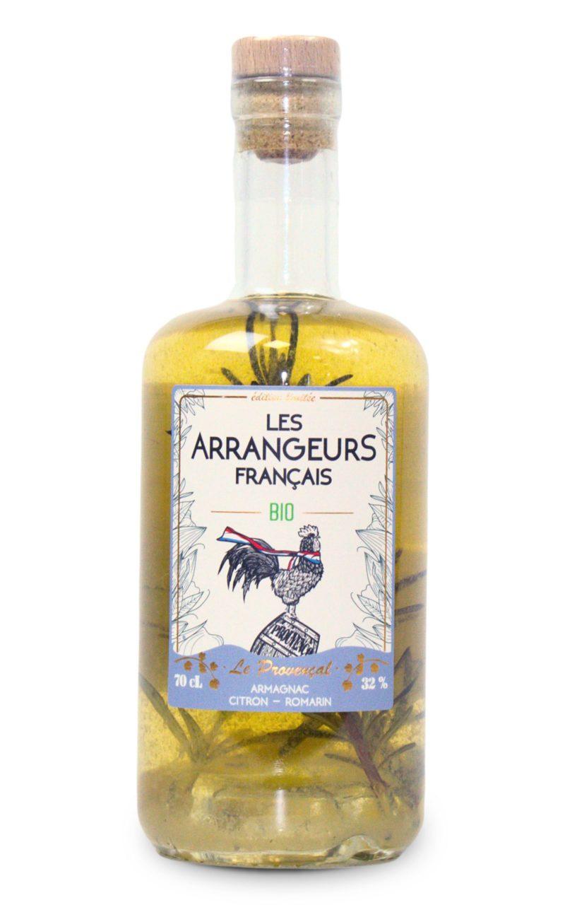 armagnac arrangé citron romarin bio bouteille les arrangeurs francais bouteille fabriquée dans le gers artisan