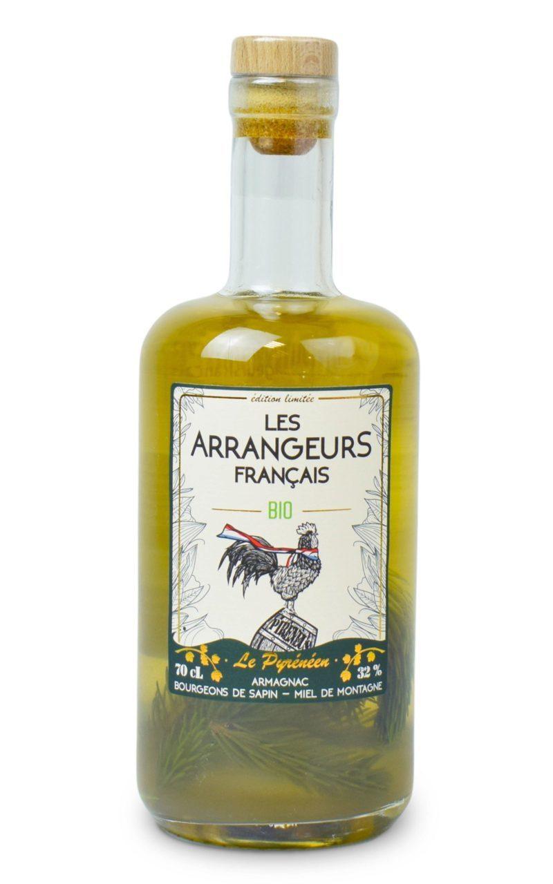 armagnac arrangé sapin miel montagne bio bouteille les arrangeurs francais bouteille fabriquée dans le gers artisan